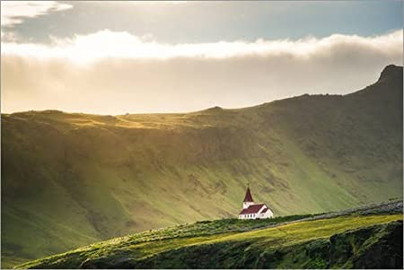 Posterlounge Lienzo 180 x 120 cm: Church in The Light, Iceland de Dennis Fischer - Cuadro Terminado, Cuadro sobre Bastidor, lámina terminada sobre Lienzo auténtico, impresión en Lienzo