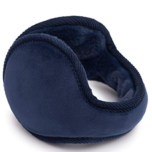 Navy Blue Wrap Around (SamiTime Unisex Foldable Cashmere Winter Outdoor Earmuffs Ear warmer, Adjustable Wrap,Pure Color)