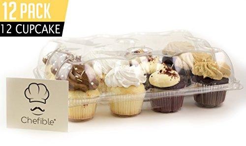Chefible Premium 12 Cupcake Carrier Container Box High Dome, Extra Sturdy For Easy Transport! 12 pack Dome Box