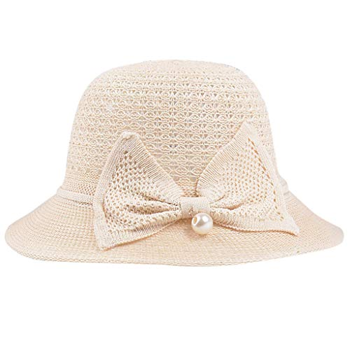 KESEELY Womens Bow Sunshade Hat Mesh Wild Simple Beach Foldable Caps Beige (Bay Furniture Pacific Outdoor)