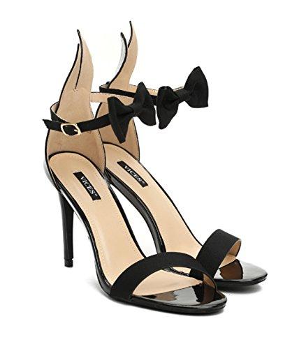 VICES selection design Alice Bunny High Heel Sandal - Beige, Black, Pink (US 5/EU 35, Black) -