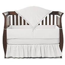 American Baby Company 1500SS-WH Heavenly Soft Minky Dot Crib Set, 4-Piece (White)
