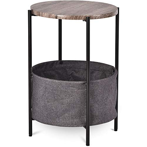 Amolife Side Table/End Tables with Fabric Storage Baskets/Modern Round Bedside Table/Small Accent Table Wood and Metal, Grey