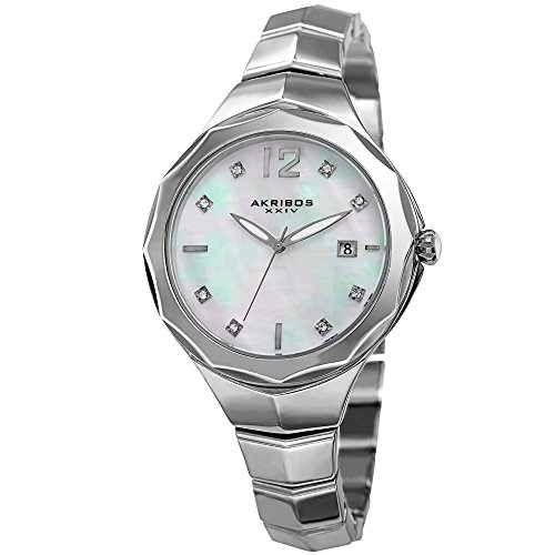 Akribos XXIV Women's Swarovski Crystal Accented Mother-of-Pearl Dial with Silver-Tone Bracelet Watch AK932SS