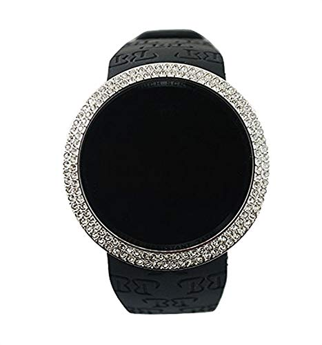 Techno Pave Techno Pave Iced Out Bling Lab Diamond Silver Black Digital Touch Screen Sports Watch Silicone Band price tips cheap