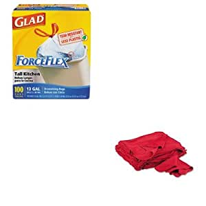 KITCOX70427UFSN900RST - Value Kit - General Supply Red Shop Towels (UFSN900RST) and Glad ForceFlex Tall-Kitchen Drawstring Bags (COX70427)