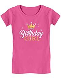 0dd90cce Birthday Girl Party Shirt Princess Crown Girls Fitted T-Shirt