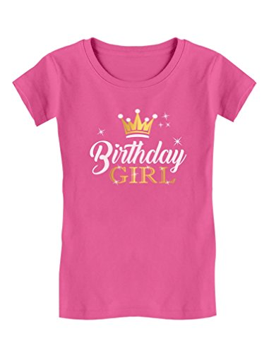 Birthday Girl Party Shirt Princess Crown Girls Fitted T-Shirt M (7/8) Wow Pink - Happy Birthday Shirt