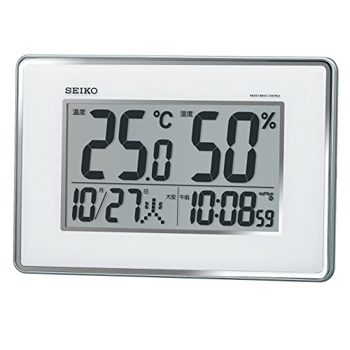 세이코 clock 벽시계 탁상시계 겸용 전파 디지탈 캘린더 온도 습도 표시 은색 메탈릭 SQ437S SEIKO