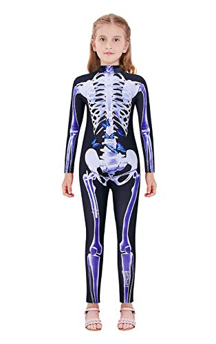 Lovekider Youth Girls Halloween Costume 13-14 Years Cool 3D Cosplay Outfit Scary Skeleton Bone Jumpsuit Bodysuit