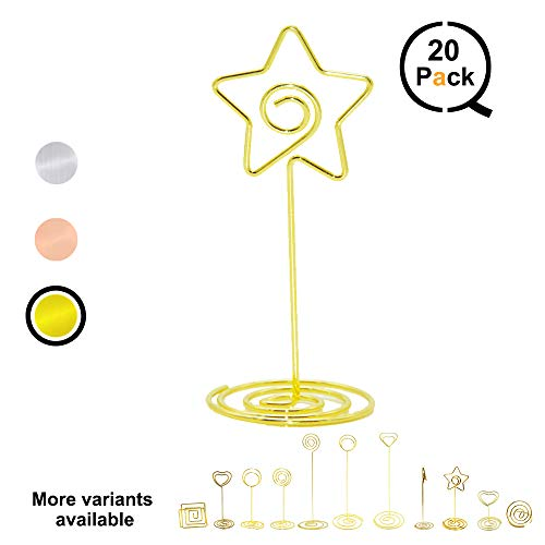 QLLY Wire Shape Place Card Holder Stands, Table Name Number Holders, Paper Menu Picture Memo Note Photo Clip Holder Food Signs for Weddings, Dinner, Parties(20 Pack) (Gold -