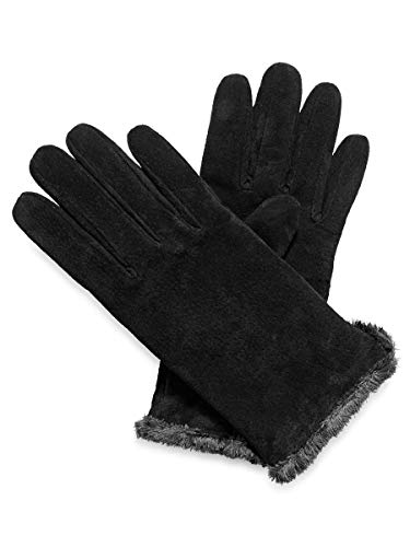 Isotoner Genuine Suede Leather Winter Gloves - Warm Plush Microluxe Lined - Black Large