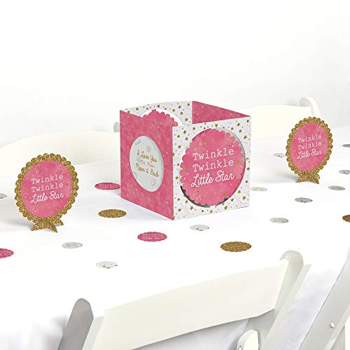 Big Dot of Happiness Pink Twinkle Twinkle Little Star - Baby Shower or Birthday Party Centerpiece & Table Decoration Kit ()