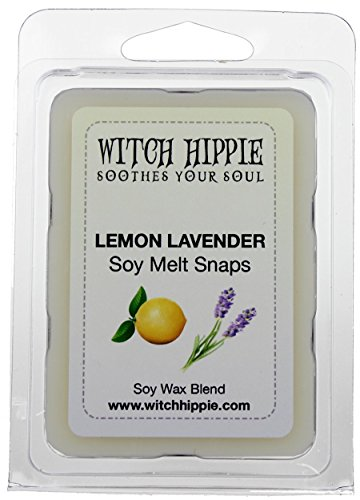 Lemon Lavender Scented Wickless Candle Tarts, 6 Natural Soy Wax Cubes By Witch (Lavender Witch)