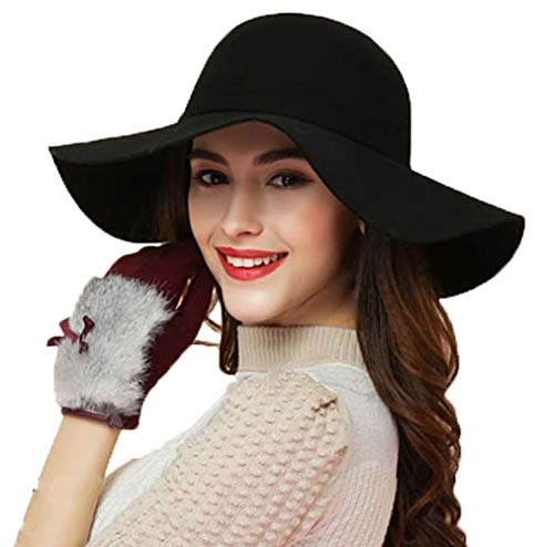 (ASSQI Women's Foldable Wide Brim Retro Fedora Floppy Felt Bowler Hat Black)