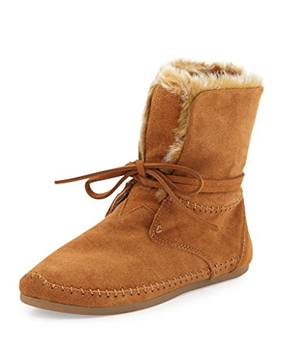 Toms Zahara Booties Chestnut Suede Faux Hair 10006229 Wom...