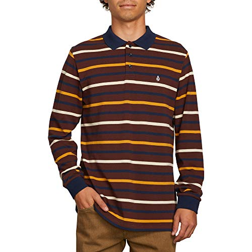 Volcom Men's Gon James Striped Long Sleeve Polo Shirt, Bordeaux Brown, Extra Large