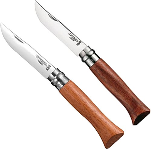 Opinel Knives No.6 7cm, No.8 8.5cm Luke Mirror Polish Stainless Steel Bubinga Handle