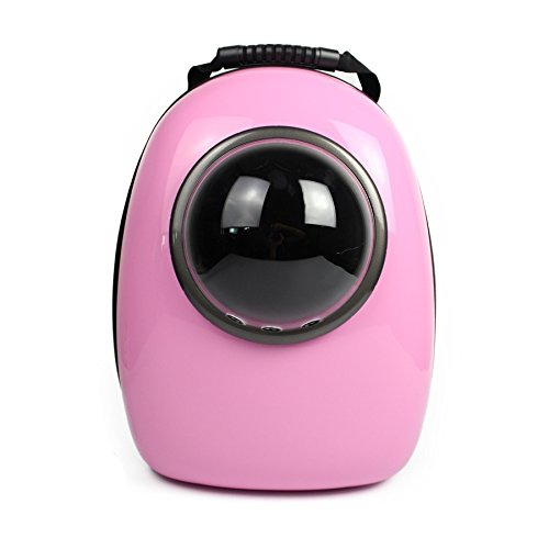 Innovative Capsule Pet Backpack Portable Transparent Breathable Carriers Travel Bag for Cat Puppy Small Dog Home& Outdoor Waterproof Premium Handbag Bubble Shoulder Bag by Geekercity (Pink)