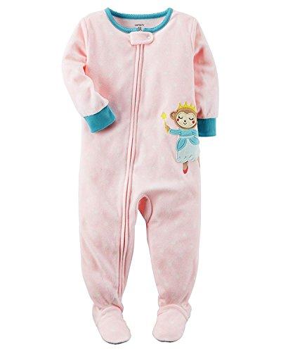 - Carter's Baby Girls 1Piece Footed Fleece Pajama Monkey Princess Light Pink 24M