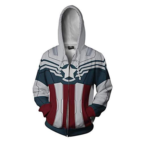 Cosfunmax Unisex Adult Superhero CA Zip Up Hoodie S]()