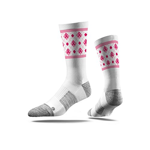 Strideline NCAA Amercian Cancer Society Premium Athletic Crew Socks, White, One Size