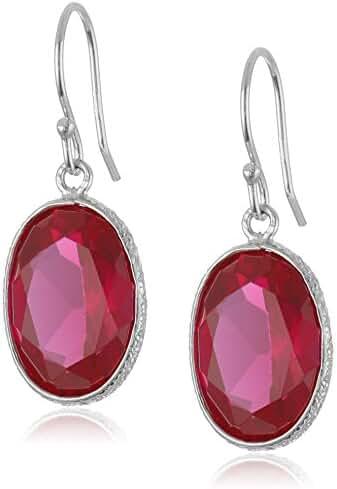 Ruby Oval Dangle Earrings