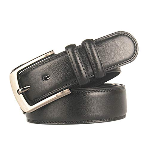 Cyose Men Belt Imitation Leather Alloy Pin Buckle Belt Casual Men Business Affairs Belt A Black 110cm