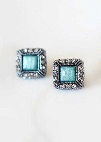 - TKHNE Full diamond earrings earrings crystal blue-green Bejeweled accessories retro fashion women girls 2 shipping