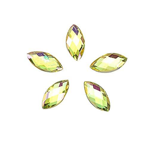 - Shirazawa 500Pcs Glitter Horse Eye Rhinestones 3D Nail Art Decorative Glue Acrylic AB Crystal Rhinestone Wheel Round Pearls Rectangle Glass