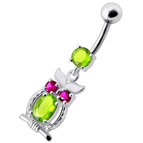 Peridot Green CZ Stone Tribal Owl Dangling Design 925 Sterling Silver Belly Button Piercing Ring Jewelry by AtoZ Piercing