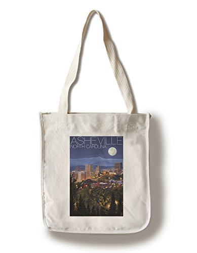 Asheville, North Carolina - Skyline at Night (100% Cotton Tote Bag - Reusable, Gussets, Made in - Shopping In North Asheville Carolina