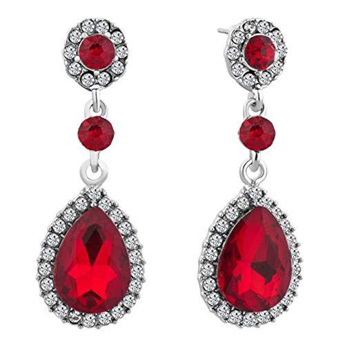 - JewelryJo Chandelier Stud Dangle Statement Earrings Women Ruby Round Drop Birthstones CZ Crystal Copper With Gift Box