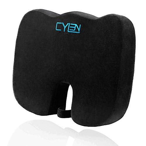 Seat Cover Cushion (CYLEN -Memory Foam Bamboo Charcoal Infused Ventilated Orthopedic Seat Cushion for Car and Office Chair - Washable & Breathable Cover (Black))