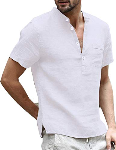 Daupanzees Mens Casual Loose Fit Henley T-Shirt Short Sleeve Lightweight Thin Basic Designed Banded Collar Solid Linen Shirt - Linen Shirt Mens Plain