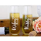 Hubby Wifey Champagne Glass Set, His & Her Champagne Flutes for Couples, 8oz Stemless Glasses