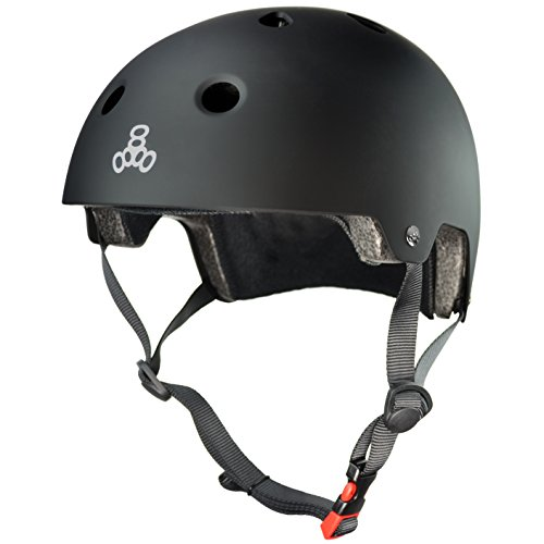 (Triple Eight Dual Certified Bike and Skateboard Helmet, Black Matte, Small / Medium)