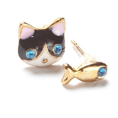 Retro Vintage Style Black and White Cat with Golden Fish Earring with Blue ()