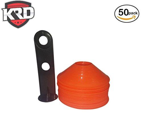 Football Field Sideline Marker (KRD 2 inch High Soccer Disc Marker Cones Orange Color for Agility Training, Soccer, Football, Kids, Field Markers- 50 pcs)