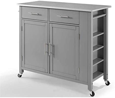 Crosley Savannah Stainless Steel Top Full-Size Kitchen Island/Cart Gray/Stainless Steel