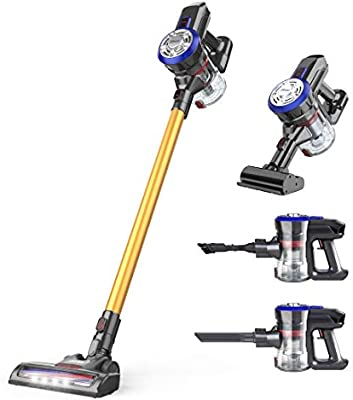 dibea Upgrade Cordless Vacuum Cleaners 5 in 1, 12000pa Handheld Stick Vacuum Cleaners Lightweight Portable with LED Brush for Car Hard Floor Carpet