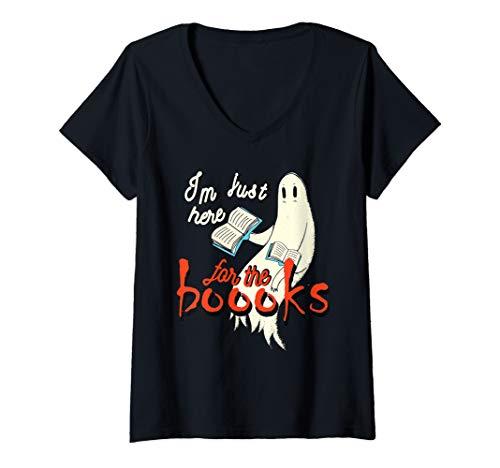 Gta V Halloween Shirts (Womens Ghost I'm Just Here for the Booooks Halloween V-Neck)