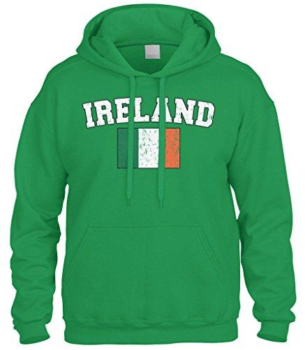 Ireland Flag Sweatshirt (Cybertela Faded Distressed Ireland Flag Sweatshirt Hoodie Hoody (Kelly Green, 3X-Large))