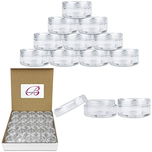 50 New Empty 5 Grams Acrylic Clear Round Jars - BPA Free Containers for Cosmetic, Lotion, Cream, Makeup, Bead, Eye shadow, Rhinestone, Samples, Pot, 5g/5ml (Clear Lid (50 Jars)