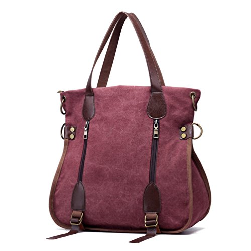 - Women's Canvas Tote Bag Top Handle Bags Crossbody Messenger Bag Shoulder Handbag (Purplish red)