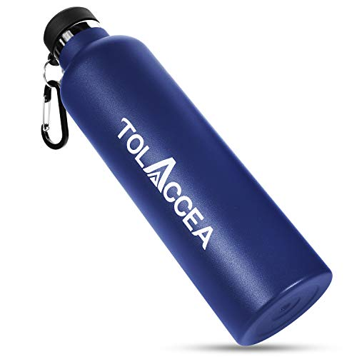 Tolaccea Stainless Steel Water Bottles BPA Free Double Walled Vacuum Insulated Sport Water Bottle 1L for Camping Hiking Cycling Beach Backpacking Running Blue
