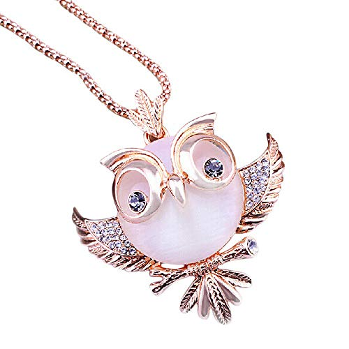 Rose Gold Vintage Lucky Owl Pendant Necklaces Sweater Necklaces Large Pendant Alloy with Rhinestone Crystal (Rose Gold) ()