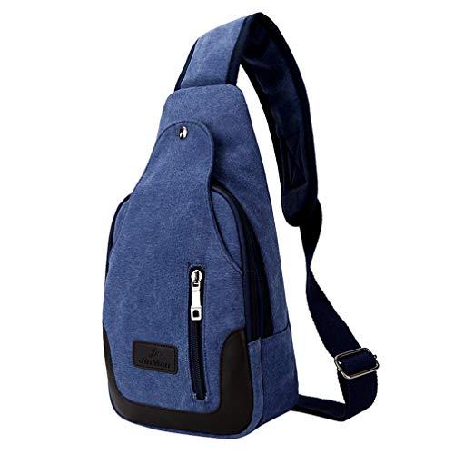 Men's Oanvasthest Chest Man Bag Deep Design Multifunction For Blue Crossbody Patchwork Bags Shoulder Zipper ppadWrtwq