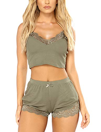 RSLOVE Pajamas Set Women's V-Neck Sleeveless Sleepwear PJ Set Soft Lace Cami Set with Short Pants Nightwear Olive L