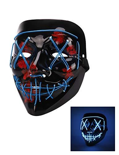 Halloween Mask, Led Light Up Mask, Adjustable Scary Masquerade Glow Mask